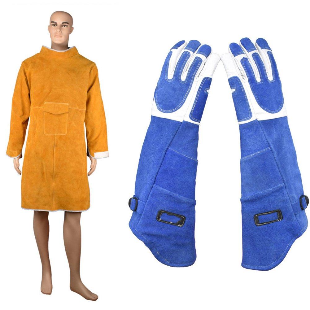 LJXiioo Tablier en Cuir, Vêtement de sécurité d'atelier Soudage Veste d'isolation Thermique Anti-brûlure résistante à l'usure,2pcs