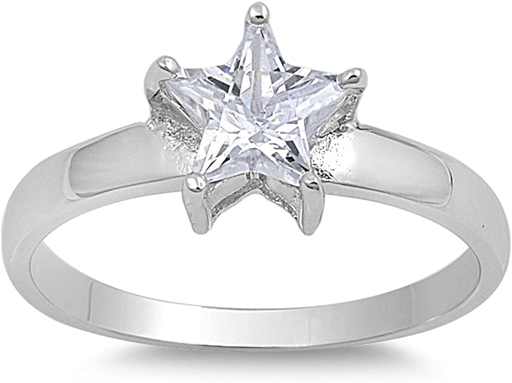 Sterling Silver Baby Star Eternity 4mm Band Beautiful Solid 925 Ring Sizes 2-10