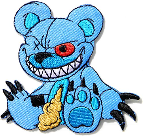 Mad Zombie Monster Horrible Teddy Bear Doll Zombie Halloween day Cartoon Baby Jacket T-shirt Patch Sew Iron on Embroidered Sign Badge Costume Clothing -