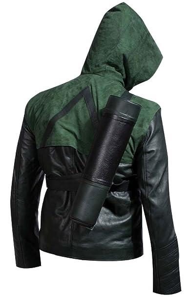 Amazon.com: Green Superhero Amell - Chaqueta de piel de ...