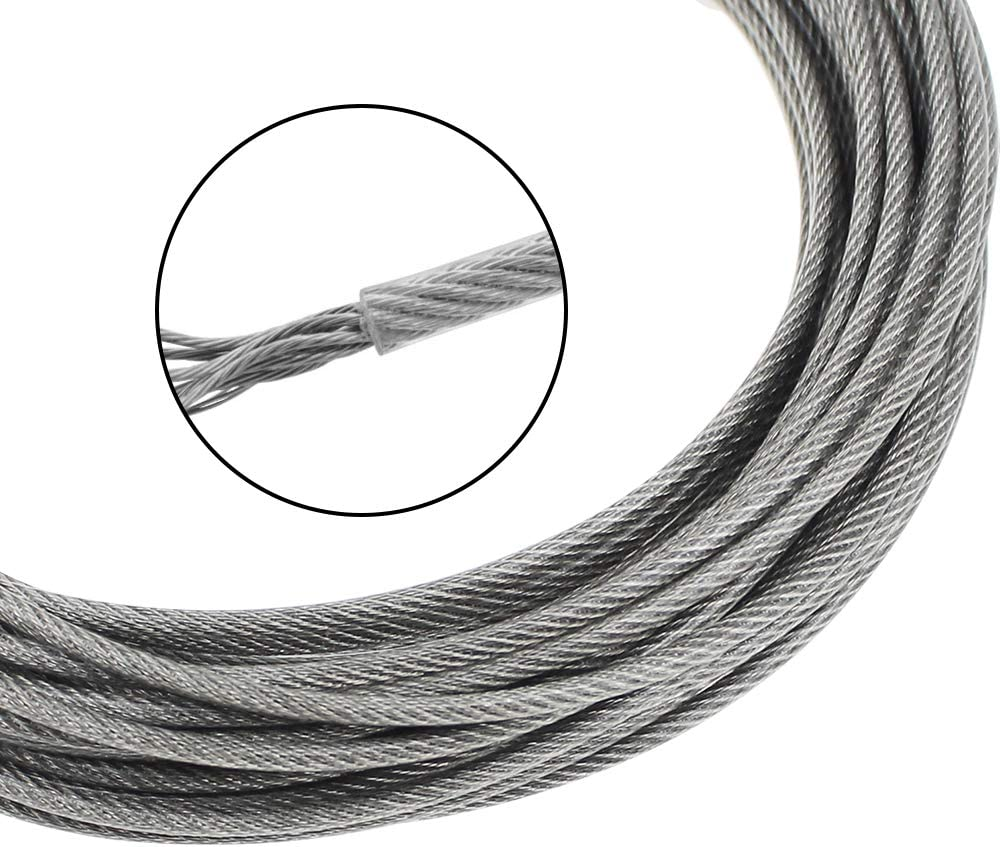 DXLing 2mm x 10m Picture Frame Hanging Wire 304 Stainless Steel Wire Spool PVC Coated Heavy Duty Photo Hanger Wire with Wire Rope Fixed Codes and Screws for Hanging Clothes Curtain Hold Up to 30 KG