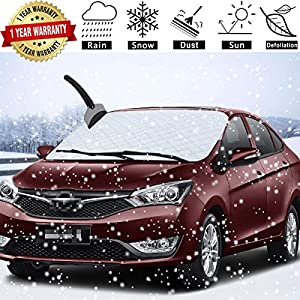 Car Windshield Snow Cover Waterproof /Windproof/Dustproof/Scratch Resistant Frost Guard Protector,Ice Cover for Most Cars/SUV,Design Protects Windshield and Wipers (KM-L08R-Y9PS)