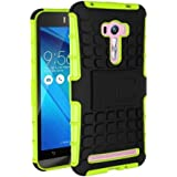 Heartly Flip Kick Stand Spider Hard Dual Rugged Armor Hybrid Bumper Back Case Cover For Asus Zenfone Selfie ZD551KL Dual Sim - Great Green