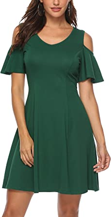 Plus Size Women Floral Swing Skater Dress Cold Shoulder Holiday Party Midi Dress