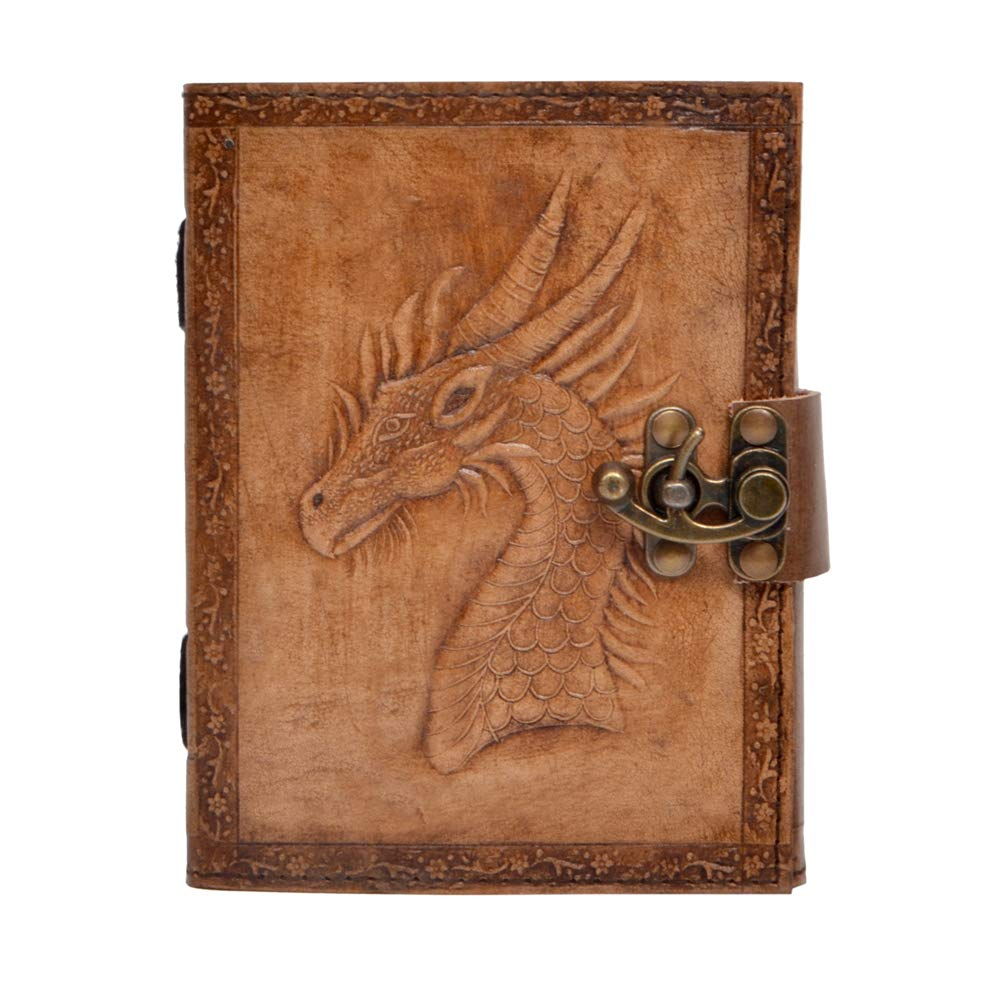Natural Handicraft Handmade Leather Journal Game of Thrones Dragon Embossed Antique Charcoal Color Notebook Sketchbook Office Handbook Daily Notepad for Men & Women Lined Paper 120 Pages 6 x 8 inches
