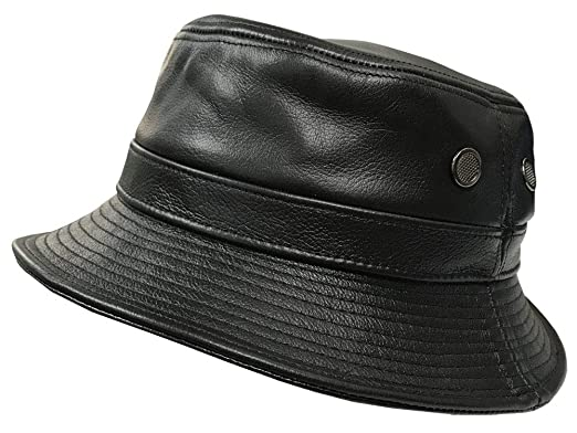 Amazon.com  Emstate Black Cowhide Leather Bucket Hat Made in USA ... 5beea63af9f
