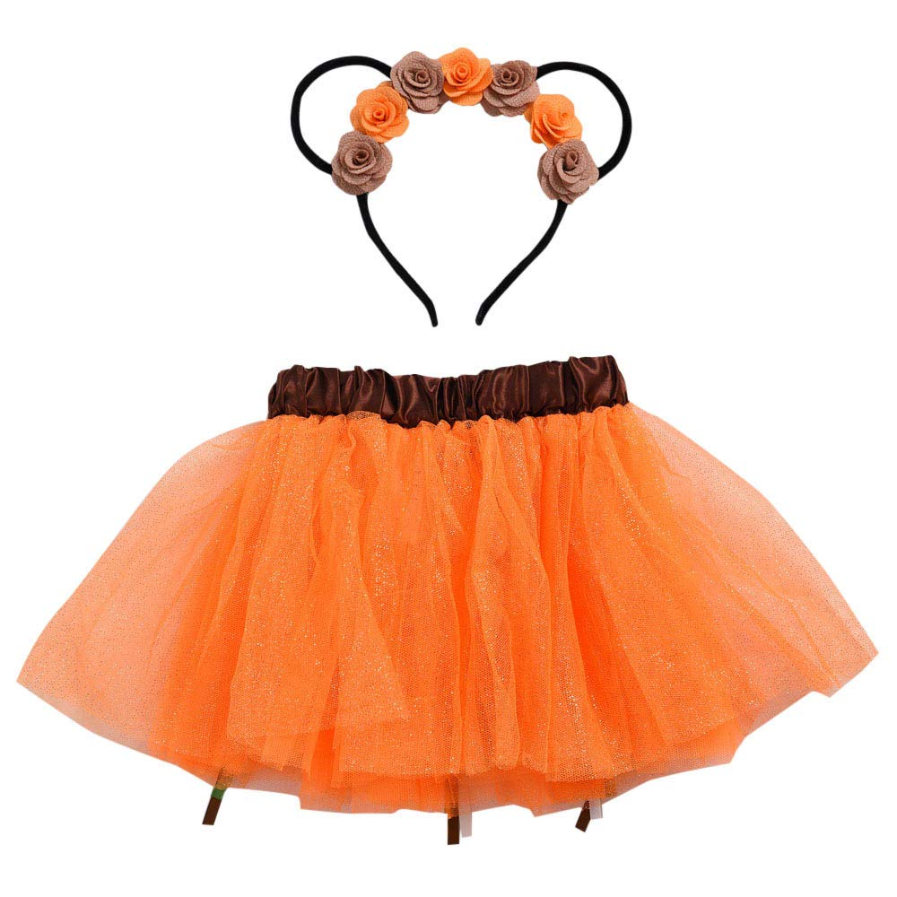 Kids Baby Boy Girls Long Sleeve Christmas Tutu Ballet Skirts Fancy Party Skirt + Hair Hoop Outfit Set Clothes (Orange, 5-6 Years/M)