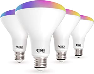Sunco Lighting 4 Pack WiFi LED Smart Bulb, BR30, 8W, Color Changing (RGB & CCT), Dimmable, 650 LM, Compatible with Amazon Alexa & Google Assistant - No Hub Required