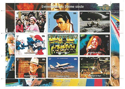 Moments of the 20th century stamps for collectors with Elvis Presley, John Wayne, The Smurfs, Queen Elizabeth and others - Mint never hinged, superb condition - 9 Stamps / Niger / 500f / Issued 1998