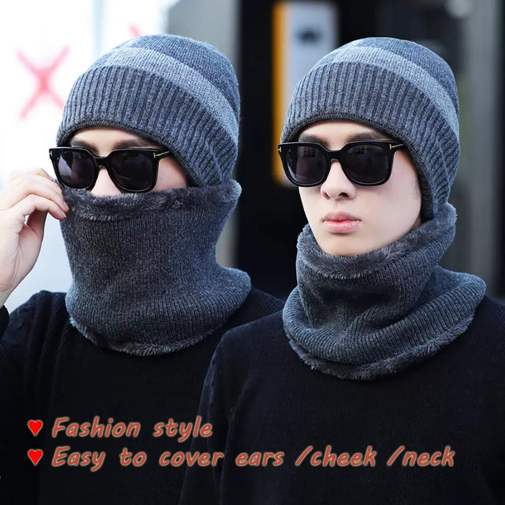 Winter Beanie Hat Scarf Set Thick Soft Lightweight Knit Skull Cap Men Women Nap Cloth Ski Outdoor Sports (Gray&Balck)