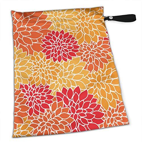 TYITCB Orange Dahlia Floral Flowers Pattern Waterproof Reusable Snack Bag Large Capacity ()