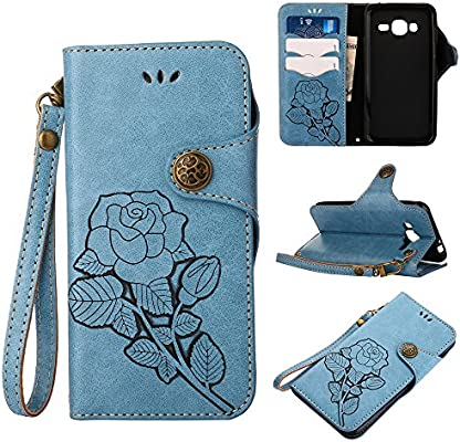 best cheap 3458f befc3 J3 (6) Case,IVY Galaxy J320 Wallet Phone Case [Rose Retro Style][Kickstand  & Wrist Strap] Leather Case Flip Cover For Samsung Galaxy J3 / Express ...
