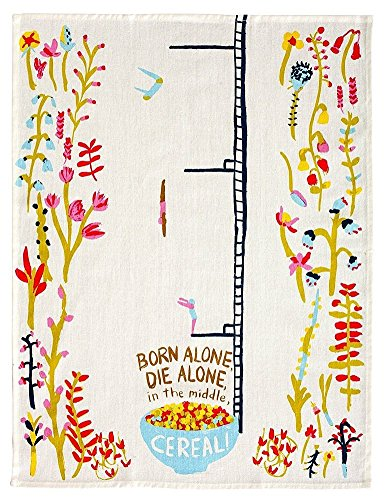 - Blue Q Born Alone, Die Alone, Cereal Dish Towel