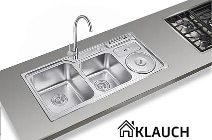 klauch 1 & 1/2 doble tazón fregadero de acero inoxidable ...