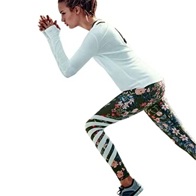 dd79f0ae6a7027 Bokeley Women Yoga Pants, Clearance!Womens Floral Printed Yoga Workout Gym  Leggings Fitness Sports
