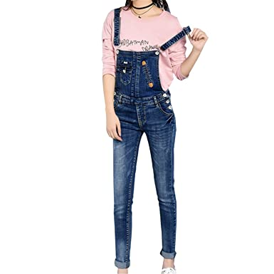 05a5aa7bb1b Amazon.com  Missrooney Retro Style Denim Jumpsuit Slim Women Pencil Jeans  Overalls Casual Big Size Adjustable Strap Rompers New Summer Jumpsuits  Pciture ...