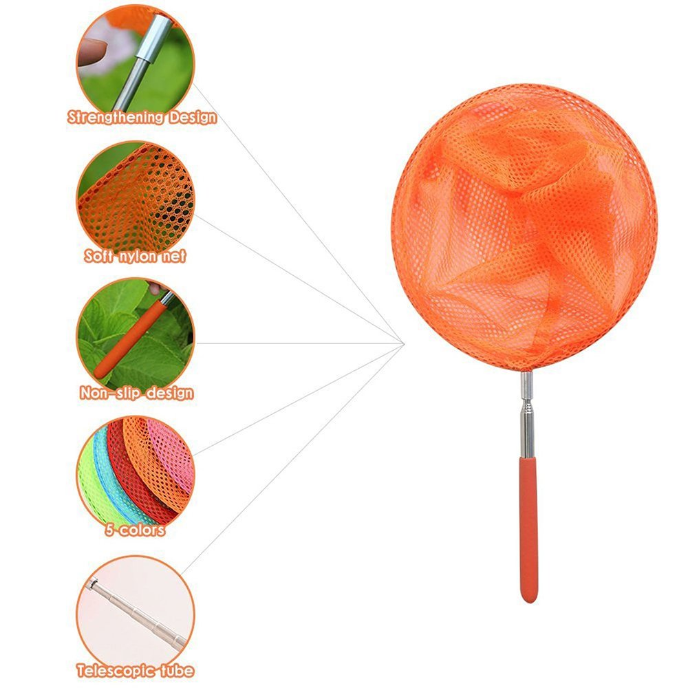 Outdoor Tools for Kids Playing Butterfly Net Bug Catcher Kit Great for Catching Insects Bugs Fishing Extendable from 6.8 to 34