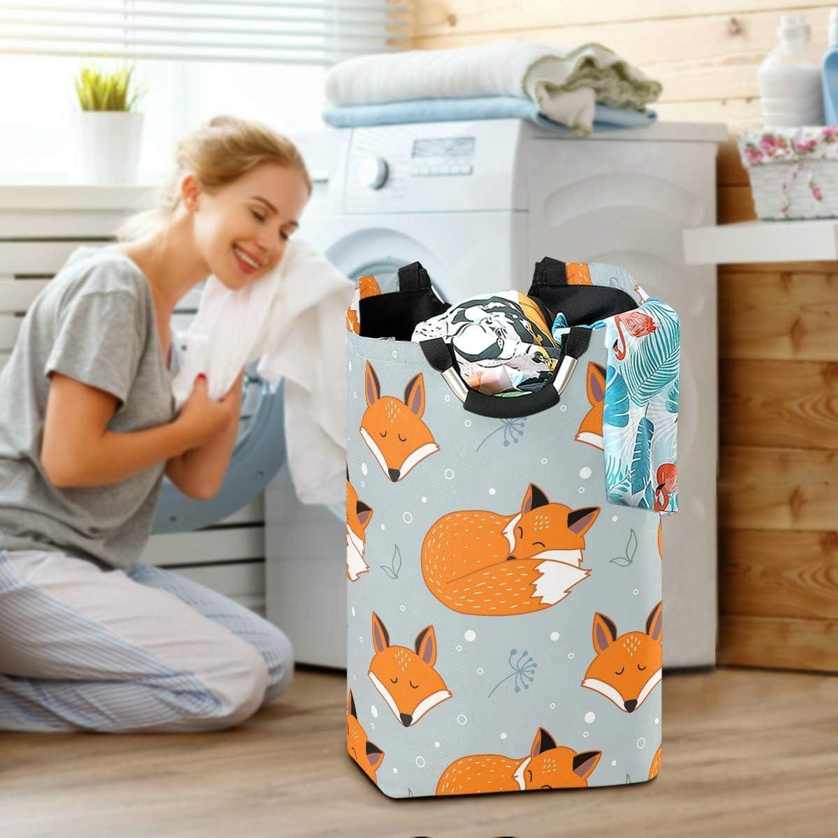 Unimagic Collapsible Laundry Basket Cute Sleeping Fox Laundry Hamper Large Cloth Hamper Laundry Organizer Holder with Handle