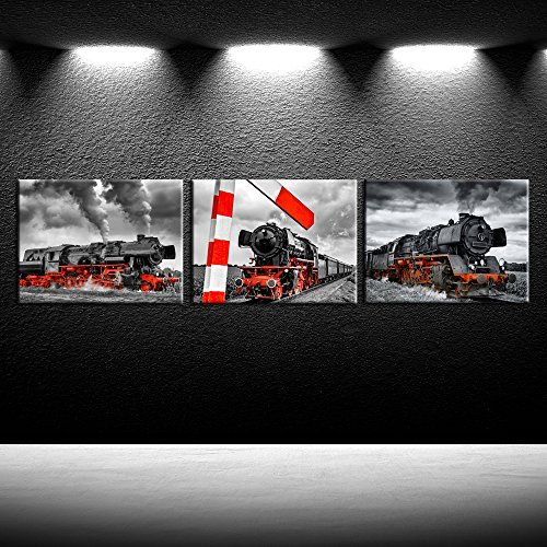iK Canvs 3 Piece Canvas Wall Art Black and Red Steam Locomotive Train Poster Pritns Old Vintage Steam Engine Pictures Modern Home Decor Stretched and Framed Ready to Hang (Train Engine Wall)