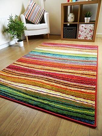 Rugs Superstore Teppich Modern Designer Teppich Bunt Gestreift Rot