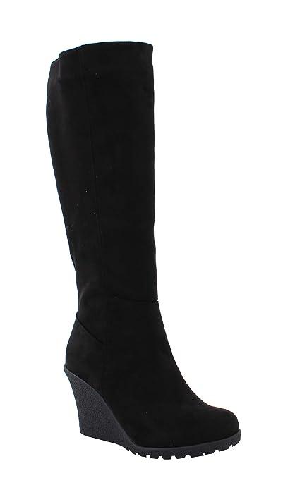 la moitié 13f48 30a20 By Shoes - Botte Compensée Style Daim - Femme