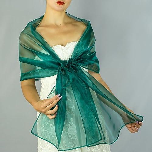 Chal organza color verde novia boda novia para vestido de fiesta