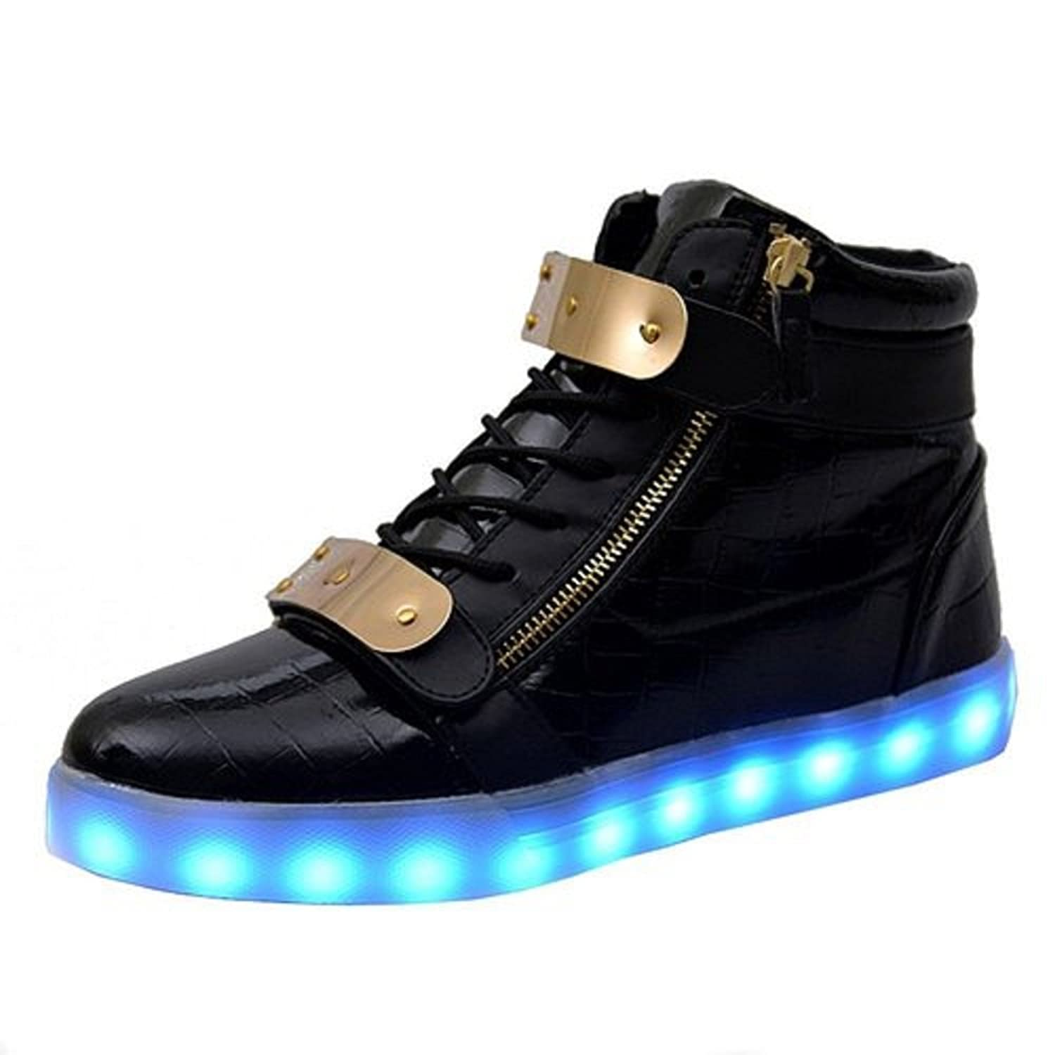70%OFF LED Shoes ON SALES: Double Metal Velcro High Top