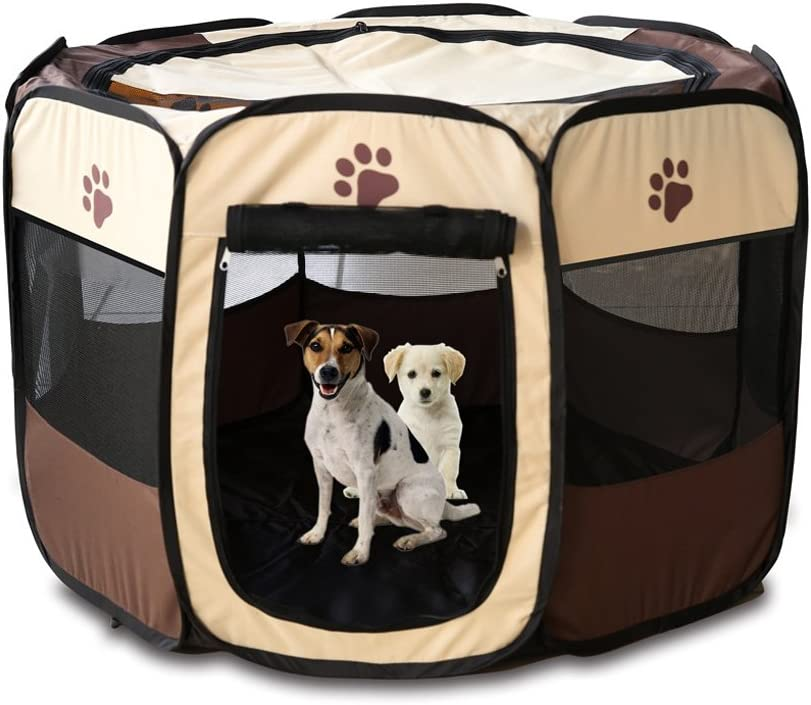 Meiying Pet Dog Cat Playpen Cage Crate – Portable Folding Exercise Kennel – Indoor Outdoor use