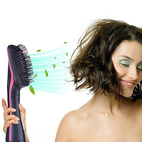 Secador de pelo liso Ionic Hair Straight Brush V-joy 2 en 1 multifuncional secador de pelo mojado ...