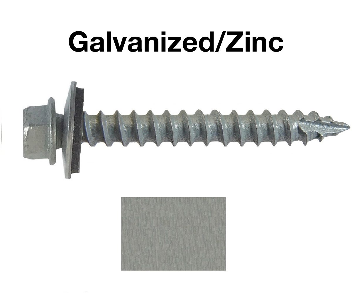 "#14 Metal ROOFING SCREWS: (250) Screws x 2"" GALVANIZED/ZINC Hex Head Sheet Metal Roof Screw. Self starting/tapping metal to wood, sheet metal siding screws ~ EPDM washer ~For corrugated roofing"