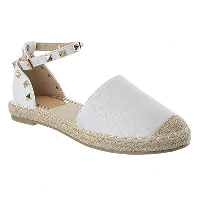 b1d0172b859 Miss Image UK Womens Ladies Flat Low Heel Ankle Strap Studded Summer  Espadrilles Sandals Pumps Shoes Size
