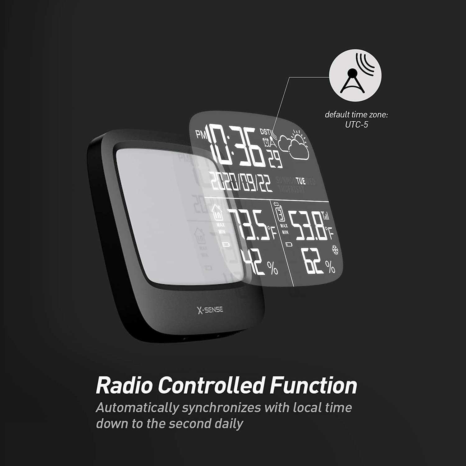 Atomic Clock Accurate Temperature and Humidity Monitor Large Backlit LCD Display X-Sense Weather Station Wireless with 500 ft Wireless Range Weather Forecast Station Black