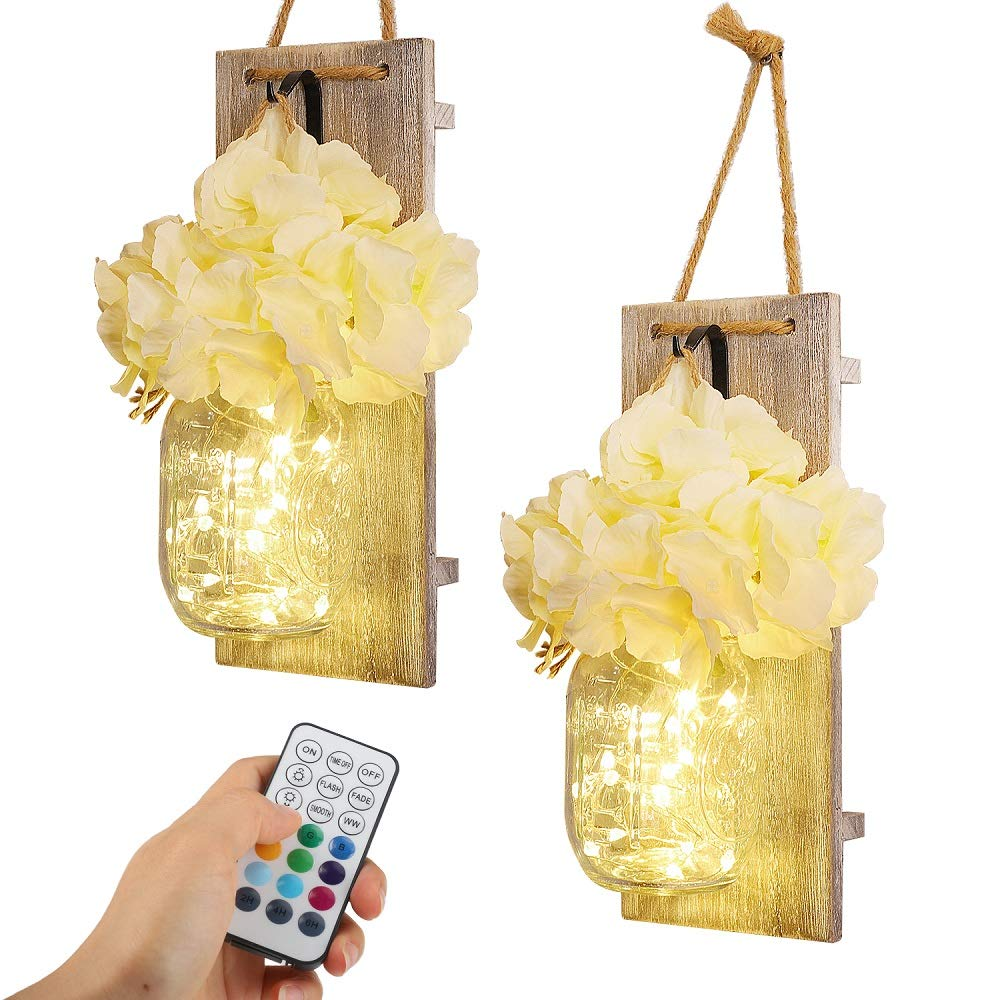 Rustic Wall Sconce for Bedroom Decor, Mason Jar Sconce with Color Changing Fairy Lights, Iron Hooks & Silk Hydrangea for Country Kitchen, Apartment, Entryway, Dorm Room Boho Decor (10 Colors Set of 2)
