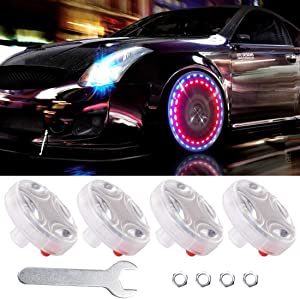 FICBOX 4 Pack Car Tire Wheel Lights Solar Car Wheel Tire Hub Light Motion Sensors Colorful LED Flashing Exterior Lights for Car Motorcycles Bicycles