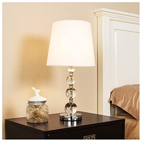 POPILION Modern Style Chrome Living Room Bedside Crystal Table Lamp ...