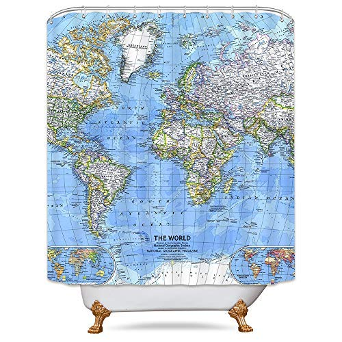 World Map Shower Curtain Weighted Hem Educational Geography Blue Countries Capital Cities The Earth Decor Fabric Set Polyester Waterproof Fabric 72x72 Inch Free 12-Pack Plastic Hooks