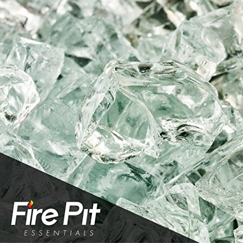 Fire Pit Essentials Fire Glass for Fireplace and Firepit Fireglass 10 Pound 1/2 Inch Clear Ice by Fire Pit Essentials