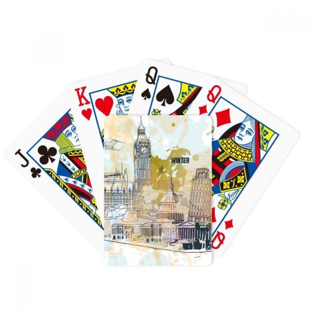 Travel Landmark Big Ben Leaning Tower of Pisa Poker Playing Cards Tabletop Game Gift by beatChong
