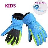 AMYIPO Kids Winter Snow Ski Gloves Waterpoof Children Snowboard Gloves for Boys Girls