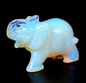 OCN-HEALING 4cm Natural Crystal Crafts Collection Gemstone Elephant Figurines Holiday Home Office Statue Décoration Christmas Birthday Business Gifts (Opal)