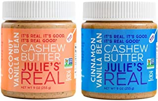 product image for Julie's Real Cashew Butter 2 Pack, Cinnamon Vanilla Bean and Coconut Vanilla Bean, 2 Jars, 9 oz each