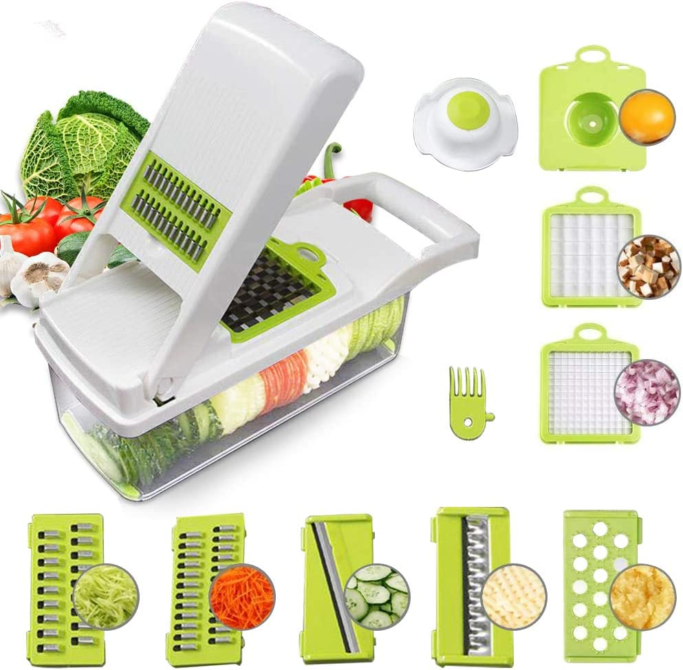 Food Chopper Vegetable-Fruit-Cheese-Onion Chopper Slicer Dicer Tomato Grater 12 in 1 Veggie Chopper Spiralizer Salad Potato Slicer with Container Multi-function Kitchen Aid Carrot Cutter (White)