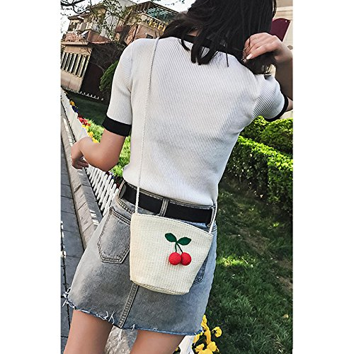 Women Donalworld Shell Cute Bag Blue Crossbody Bag Weave Shape Purse Small Straw SwqAwrdF
