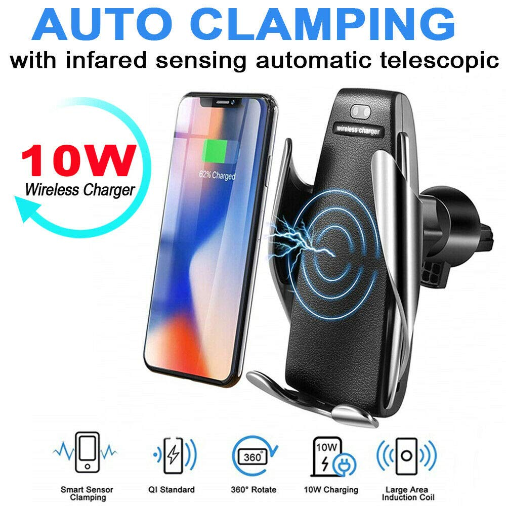 Smart Automatic Clamping Car Wireless Charger Car Mobile Holder with 360/°Rotation Qi Infrared Sensor Phone Holder Mount Bracket for Qi Enabled Devices iPhone Xs Max//XS//XR//X//8Plus//8 Samsung by viv66