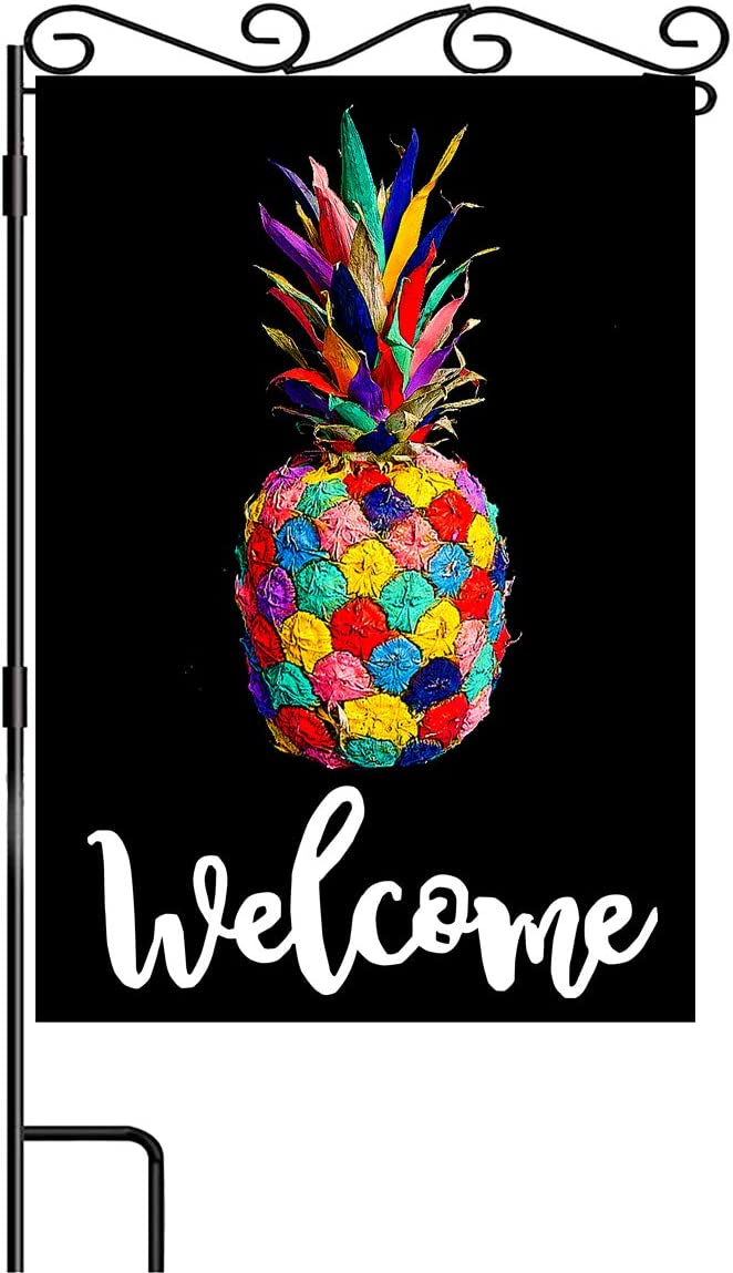 Welcome Colourful Pineapple on Black Burlap Garden Flag Vertical Double Sided Summer Tropical Fruit Garden Flags Art Decoration for Yard Outdoor Gardens 12.5x18 Inch…