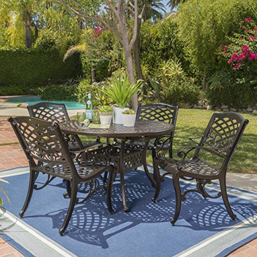 Clarisse | 5 Piece Cast Aluminum Dining Set with Expandable Table | in Hammered Bronze -