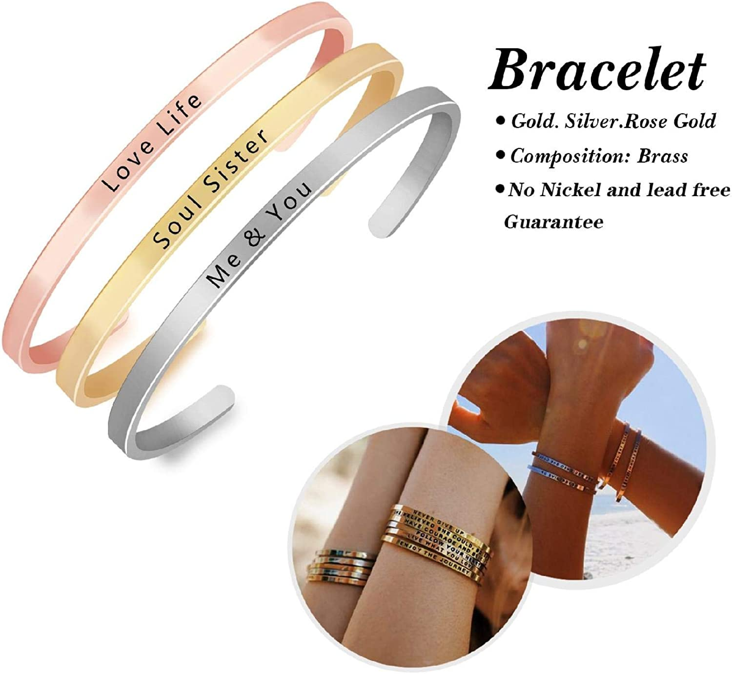 Keep It Simple Personalized Creative Letters Engraved Bracelet Bangles Jewelry Birthday Gift Silver Metal Bangle for Best Friend