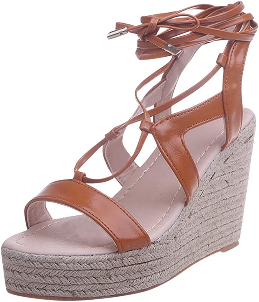 Womens Wedge Platform Sandals Peep Toe Criss Cross Strappy Weave Shoes Party Dress Sandals