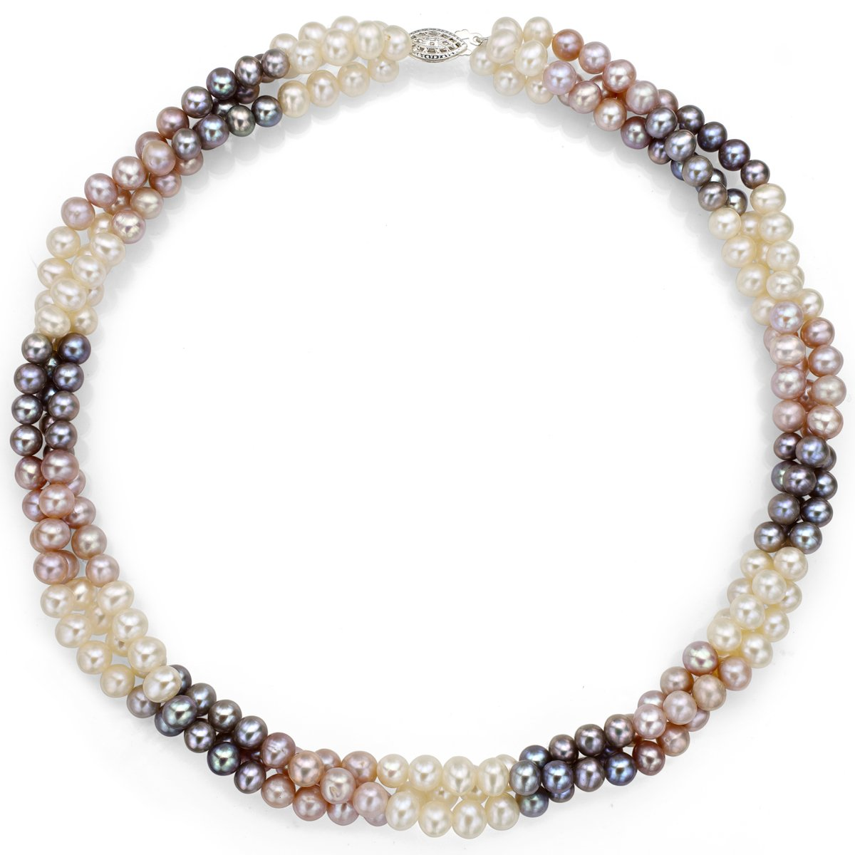 Sterling Silver 5-5.5mm Dyed Multicolor Freshwater Cultured Pearl Twisted 3rows Choker Necklace, 16''