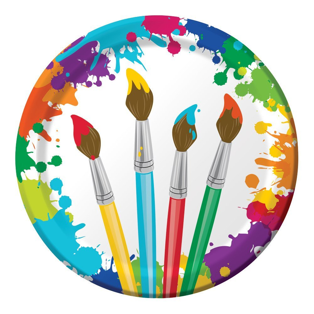 Art Painting Birthday Party Supply Pack Napkins Cups /& Silverware for 8 Guests Creative Converting AX-AY-ABHI-113924 Bundle Includes Paper Plates